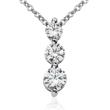 2 Stone Drop Diamond Pendant