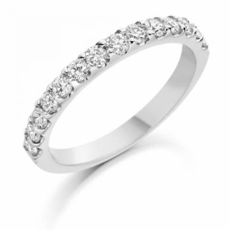 Ladies White Gold Round Diamond Claw Set Wedding Ring