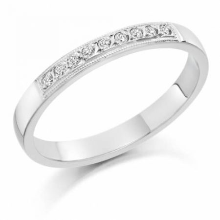 Ladies Plantinum Rub-Over Diamond Wedding Ring
