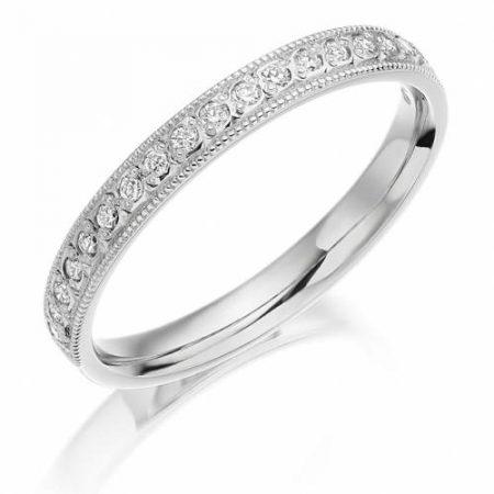 Ladies White Gold Diamond Rub-Over Wedding Ring