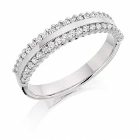 Ladies Platinum Round Diamond Double-Sided Claw Set Wedding Ring