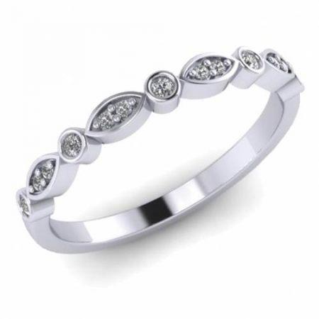 Ladies White Gold Vintage Style Diamond Wedding Ring