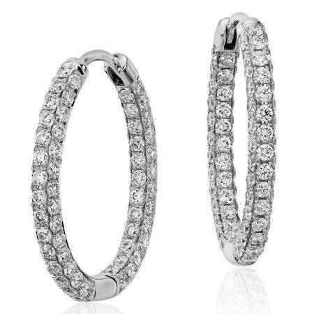 Oval Diamond Hoop Earrings