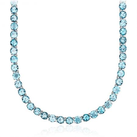 Round Swiss Blue Topaz Necklace
