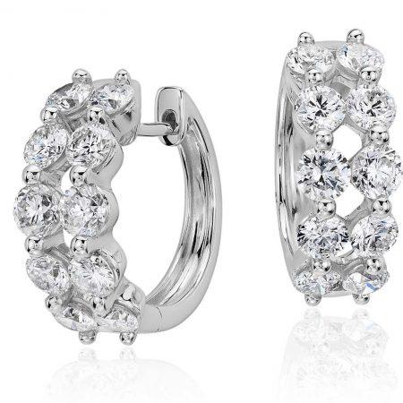 Two Row Diamond Hoop Earrings