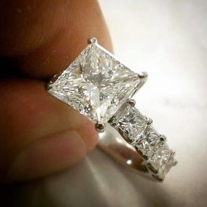 Bespoke Square Diamond Solitaire Engagement Ring