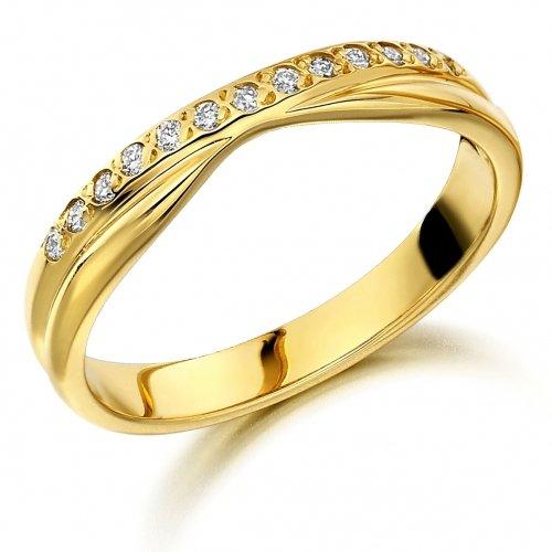 Diamond Set Shaped Wedding Ring 0.10cts