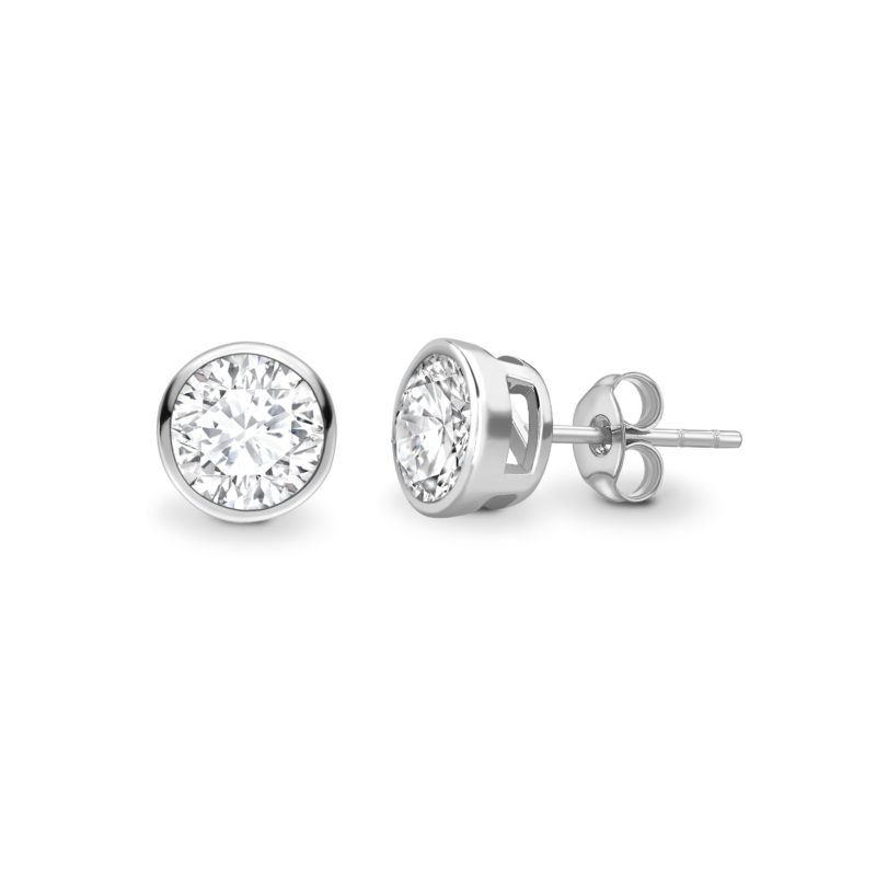 Round Diamond Rubover Earrings 0.50cts