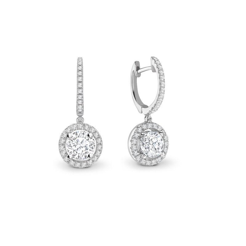 Diamond Halo Drop Earrings 0.98cts