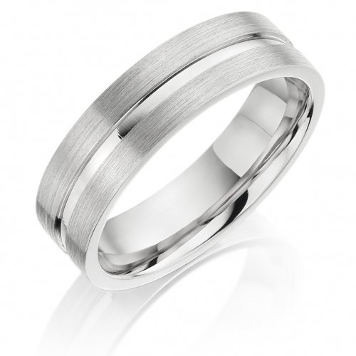 Gents Flat Patterned Wedding Ring with Polished Groove