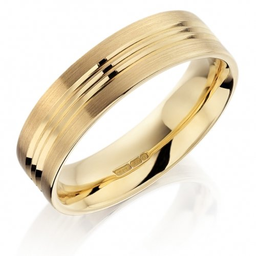 Gents Yellow Gold Patterned Wedding Ring