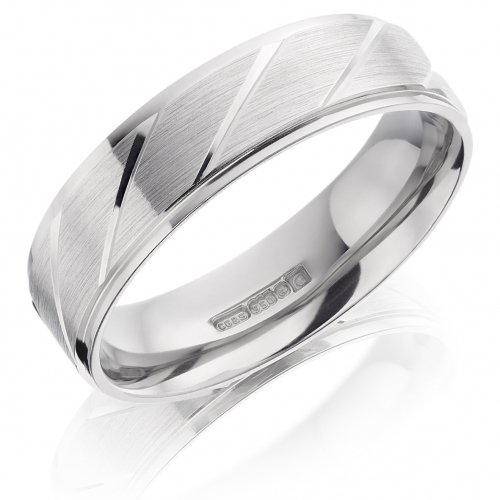 Gents 6mm Flat Wedding Ring with Polished Grooves