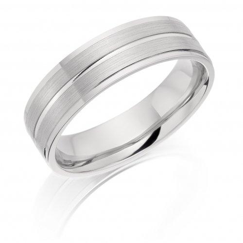 Gents Patterned Flat Wedding Ring with Groove