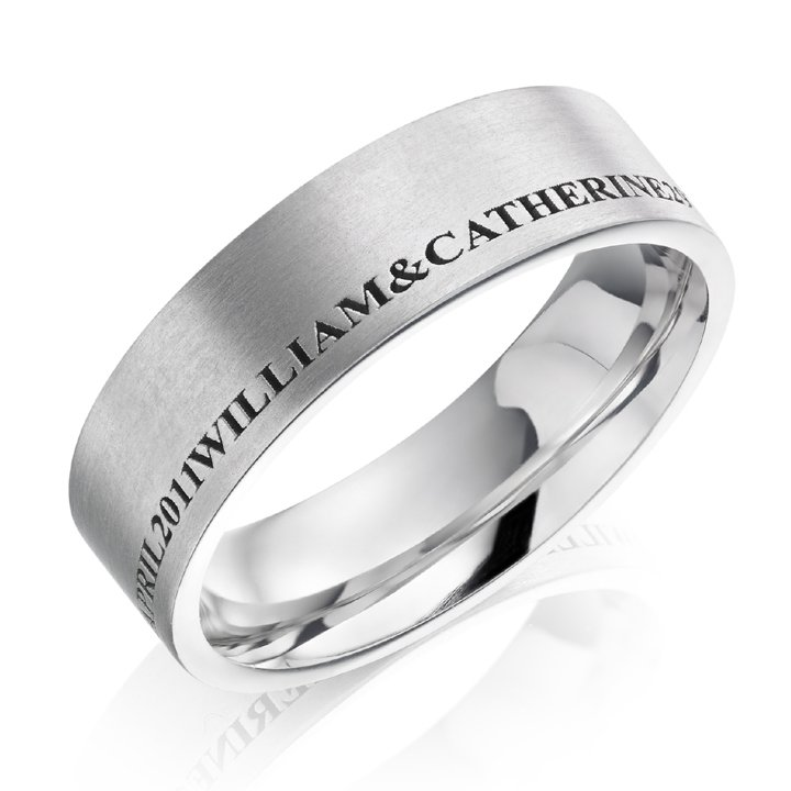 Flat Gents Patterned Wedding Ring with Engraving