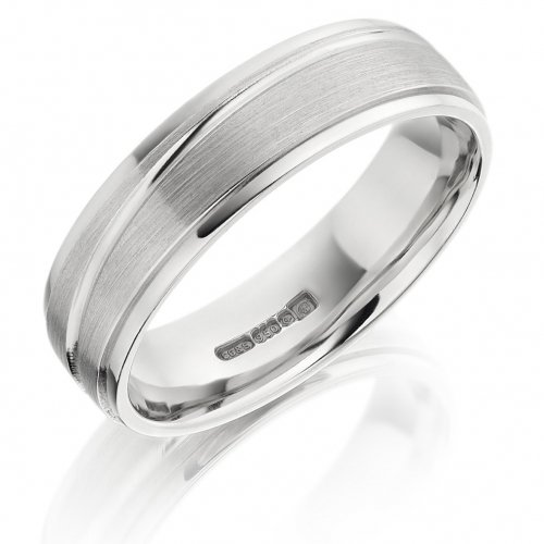 Gents 6mm Flat Wedding Ring with Diagonal Line Pattern