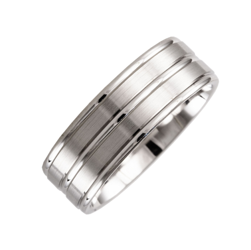 Gents 7mm Flat Patterned Wedding Ring