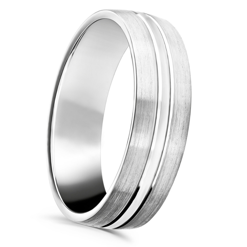 Gents Patterned Court Wedding Ring