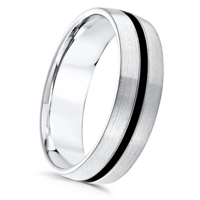 Gents Court Patterned Wedding Ring with Black Centre