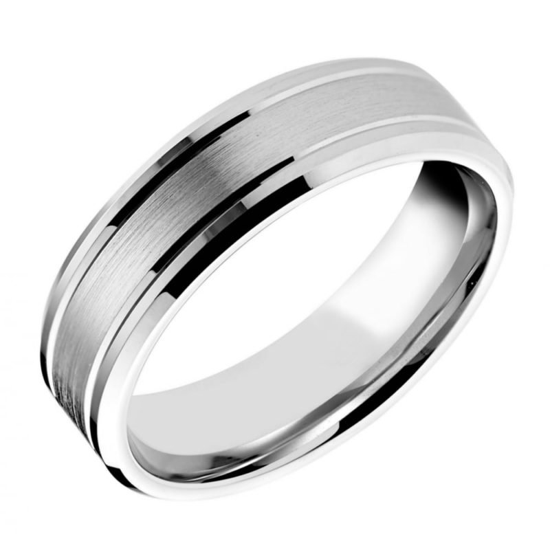 Gents Patterned Wedding Ring with Satin Finish