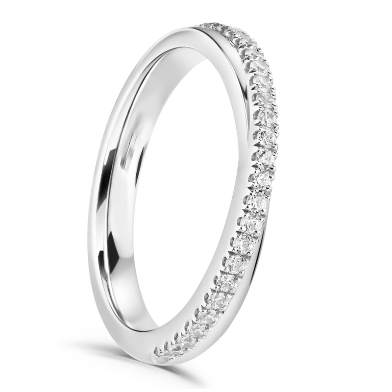 Ladies Claw Set Diamond Twist Wedding Ring 0.18cts
