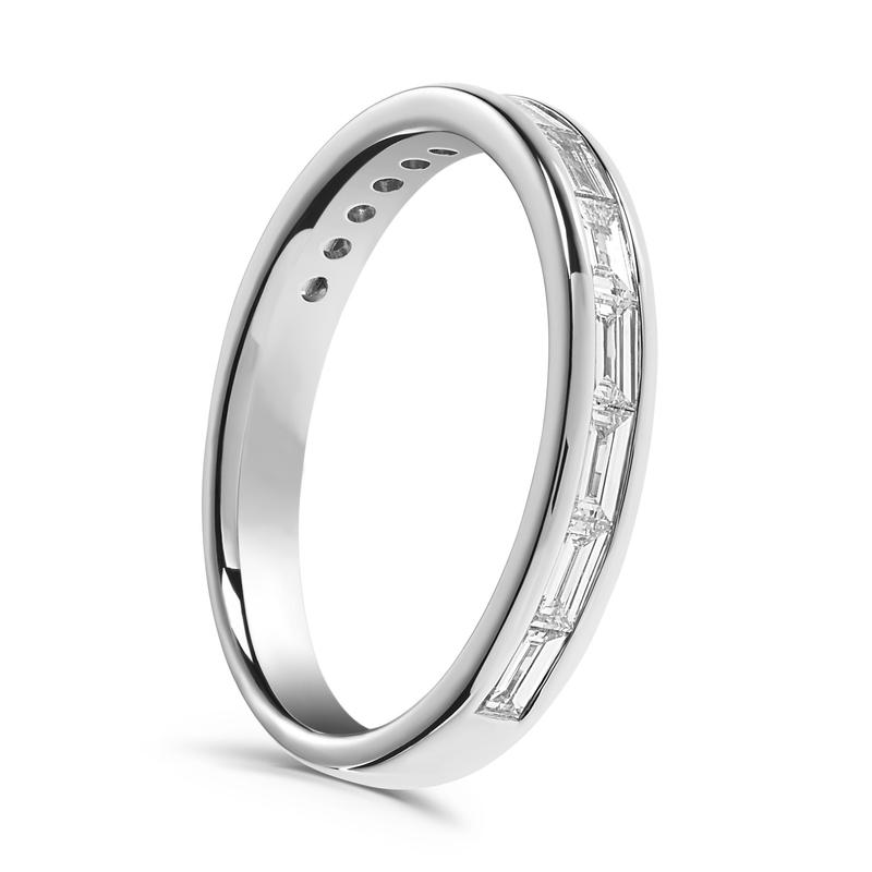 Baguette & Round Diamond Ring, 3/4 Carat in Platinum | Ben