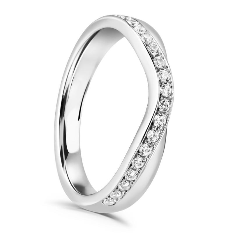 Ladies Diamond Grain Set Shaped Wedding Ring 0.20cts