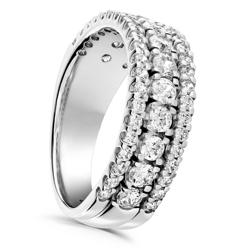 Three Row Claw Set Diamond Wedding Ring 1.10cts