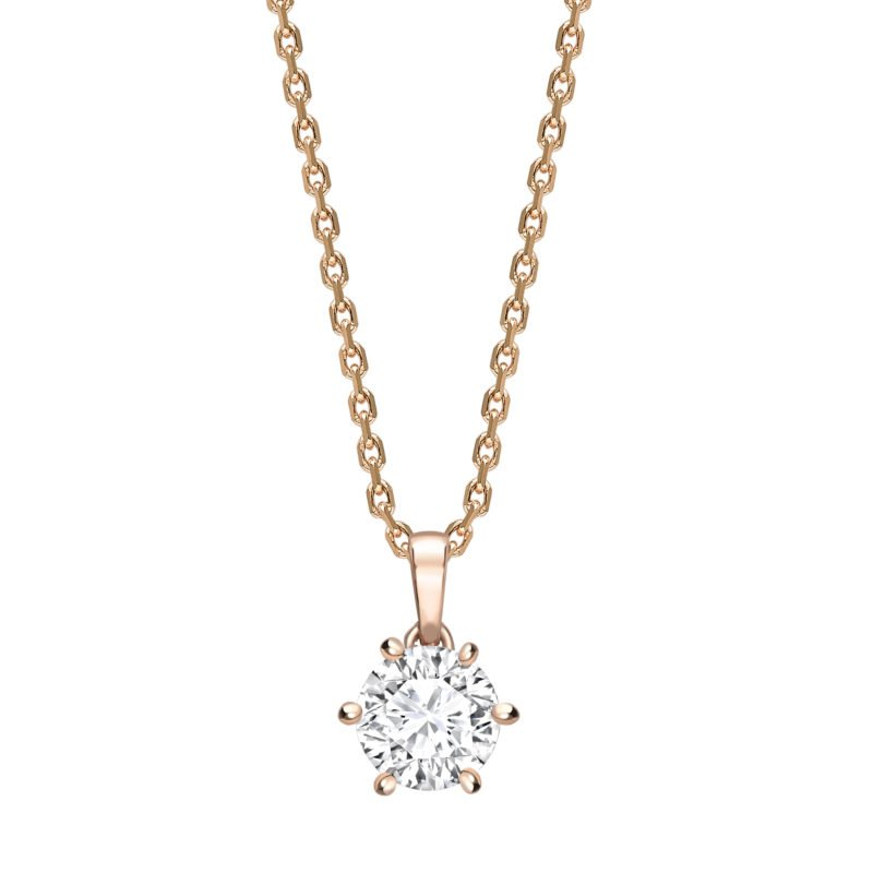 Round Diamond Six Claw Pendant in Rose Gold
