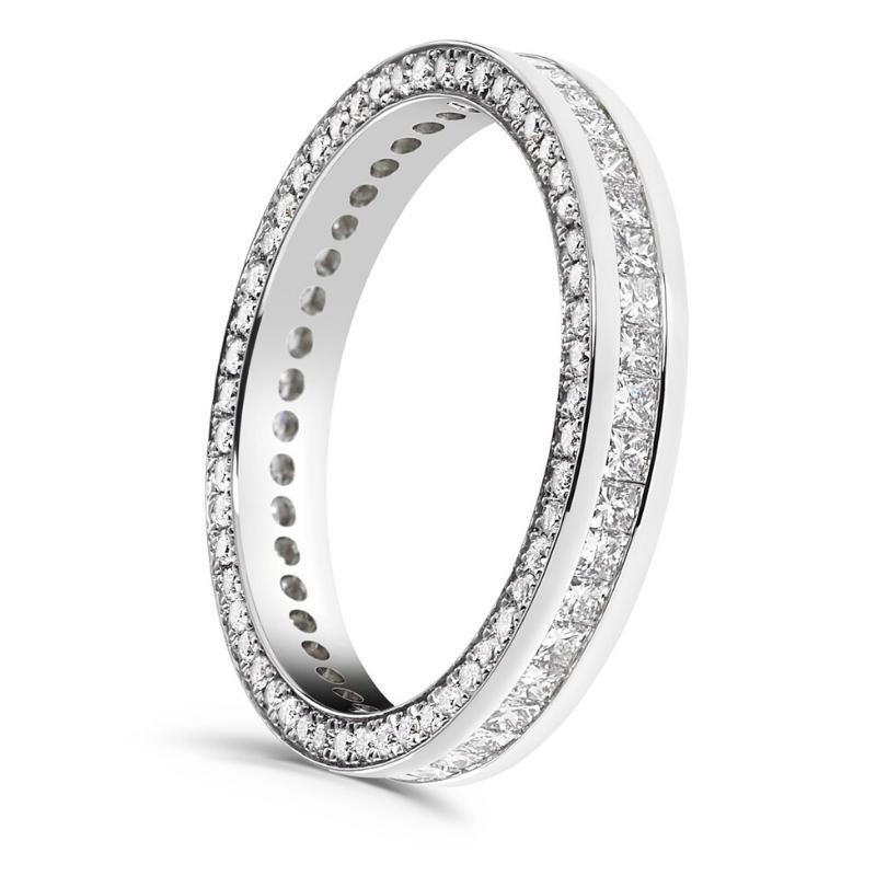 Ladies Princes cut diamond ring with diamond sides 1.25cts