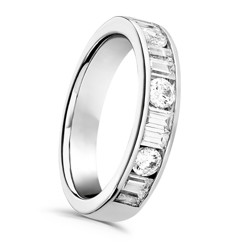 Brilliant and Baguette Cut Diamond Channel Set Ring 0.75cts