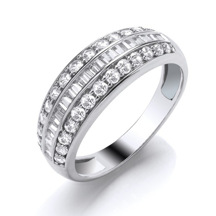 Baguette and Round Diamond Wedding Ring 0.75cts