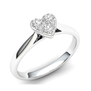 White Gold Heart Diamond Cluster Engagement Ring 0.50cts