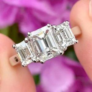 Emerald Cut Diamond Three Stone Engagement Ring 2.00cts