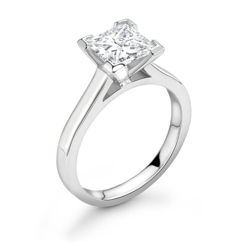 1.00 Carat Princess Cut Diamond Engagement Ring