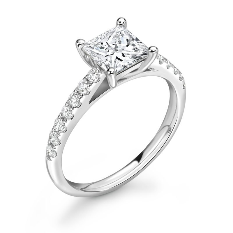 Princess Cut Diamond Solitaire Engagement Ring 1.13cts