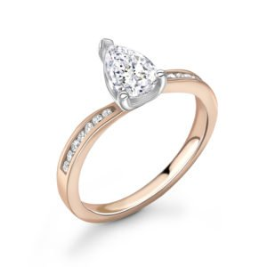 Pear Shaped Diamond Twist Engagement Ring 0.63cts