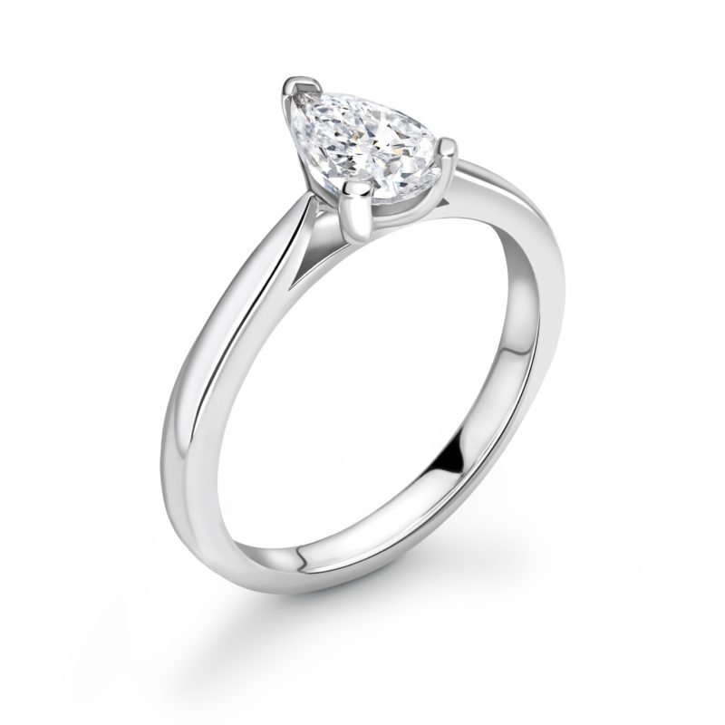 Pear Cut Diamond Solitaire Engagement Ring 0.45cts