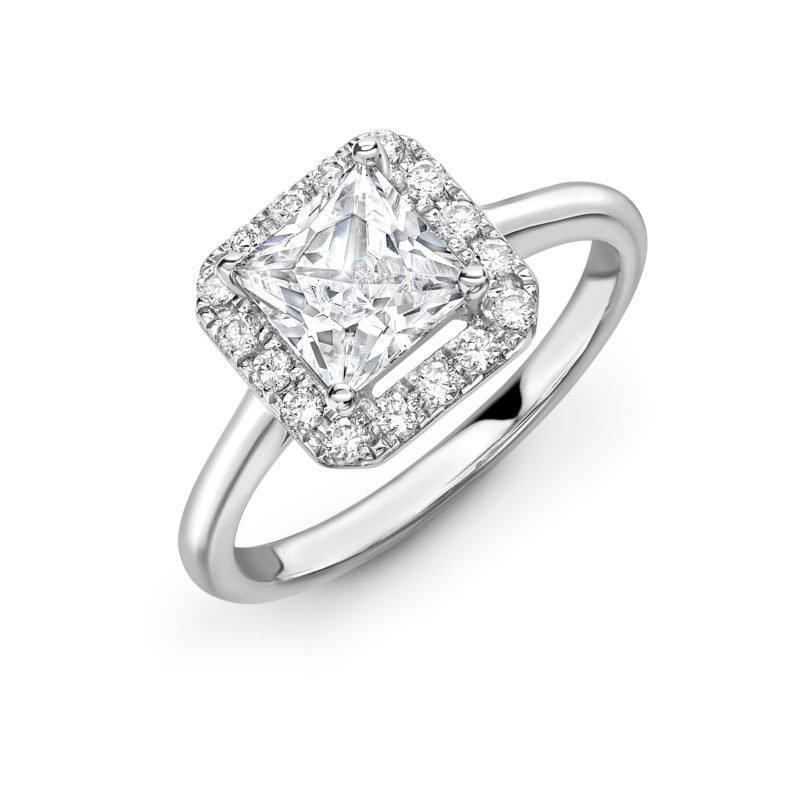 Princess Cut Diamond Halo Engagement Ring 0.73cts