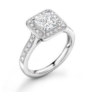 Princess Cut Diamond Halo Engagement Ring 1.08cts