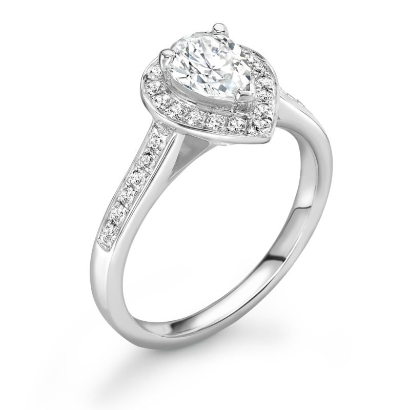 Pear Cut Diamond Halo Engagement Ring 0.93cts