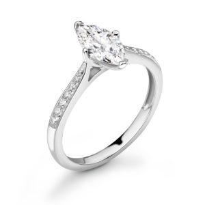 Marquise Cut Diamond Solitaire Engagement Ring 0.79cts