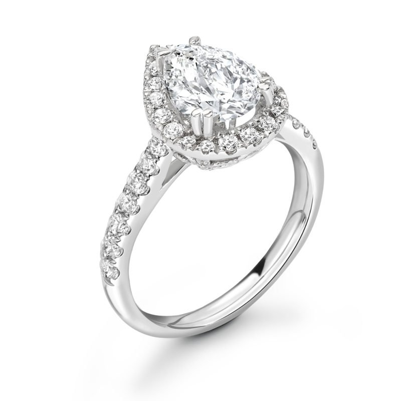 Pear Shaped Diamond Halo Engagement Ring 2.16cts