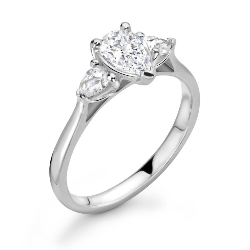 Pear Cut Diamond Three Stone Engagement Ring 1.68cts