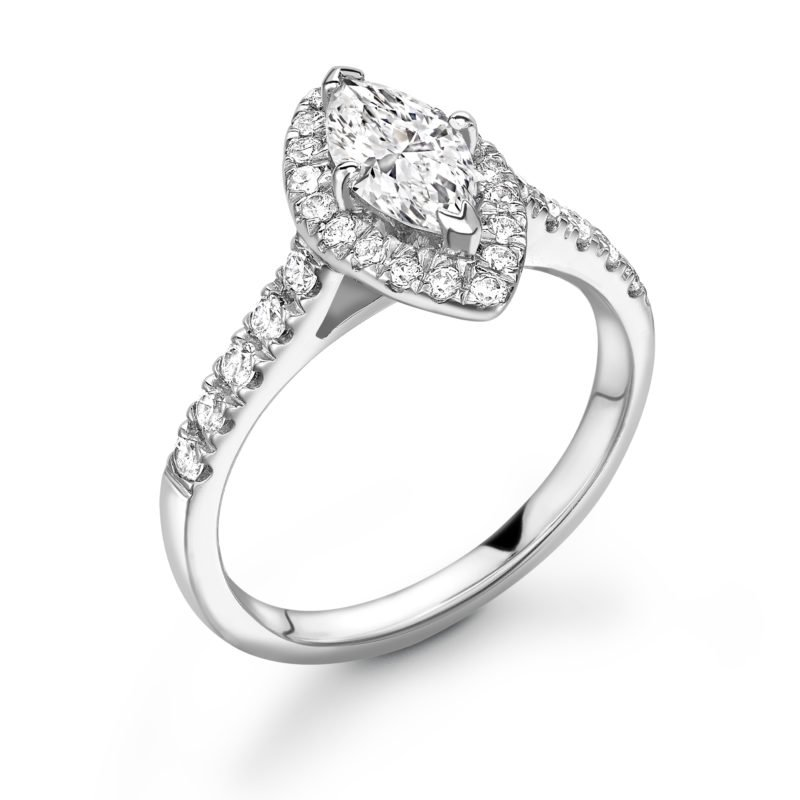 Marquise Cut Diamond Halo Engagement Ring 1.10cts