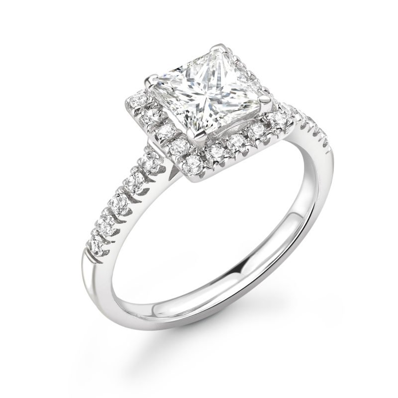 Princess Cut Diamond Halo Engagement Ring 0.52cts