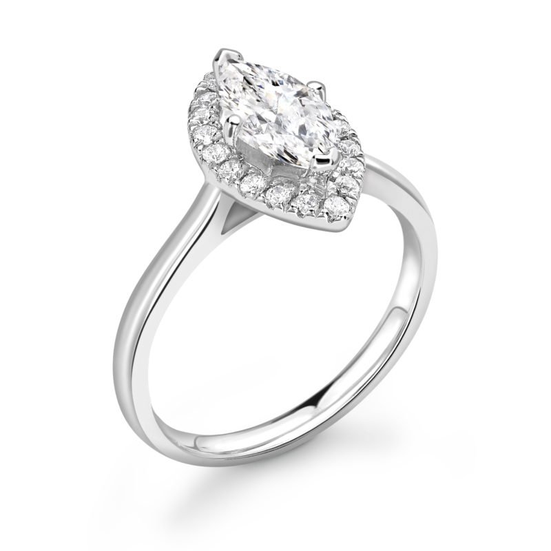 Marquise Diamond Halo Engagement Ring 0.73cts