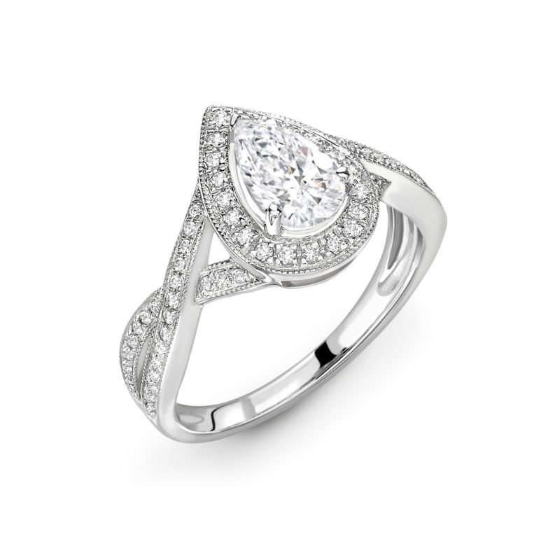 Pear Shaped Diamond Twisted Halo Engagement Ring 1.46cts