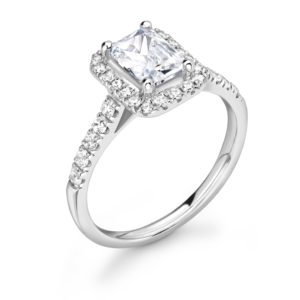 Emerald Cut Diamond Halo Engagement Ring 0.80cts