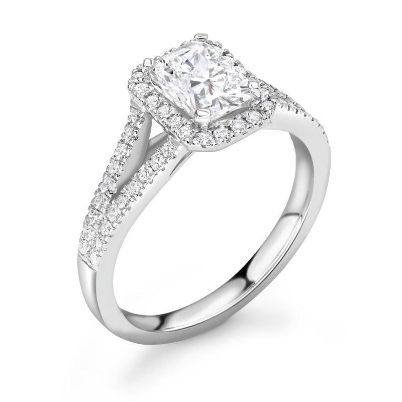 Emerald Cut Diamond Halo Engagement Ring 1.22cts