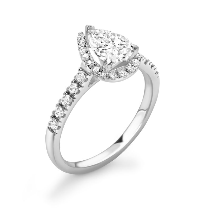 Pear Cut Diamond Halo Engagement Ring 1.32cts